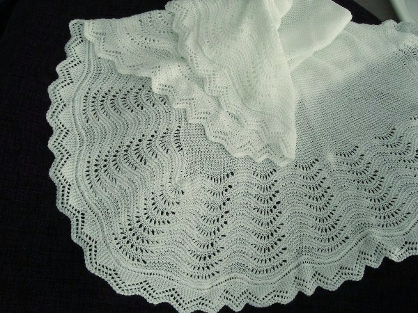 No 10 Lovely White Fan Design large christening shawl